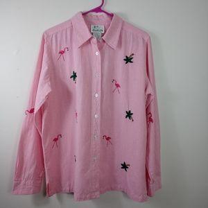 The Quacker Factory Flamingo Button Up Size M